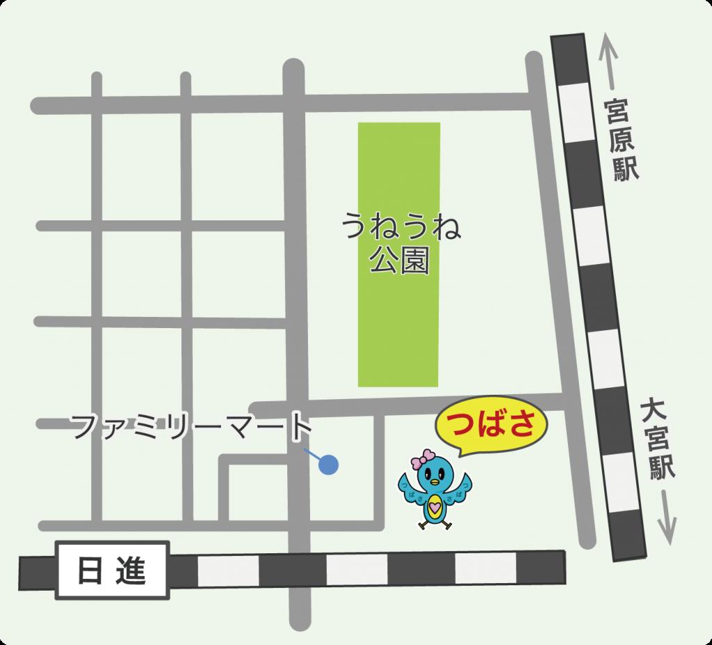 キッズスペースつばさの地図